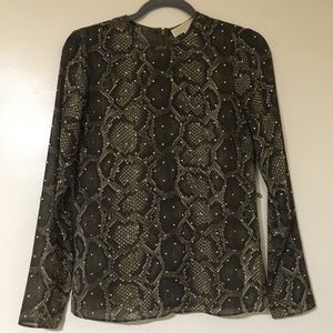 Michael Kors MK Snake Print Studded Sheer Top 0